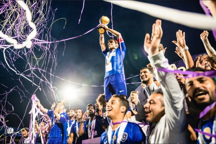 Saudi Super Cup 2018 trophy presentation at QPR featuring streamer cannons and flames