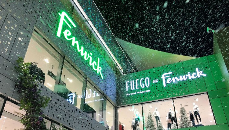 Snow machines create a blizzard of snowflakes at Fenwick Bracknell