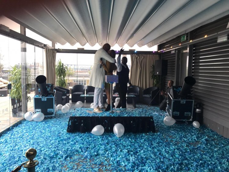 Confetti Cannons at London's Best Ever Gender Reveal Party