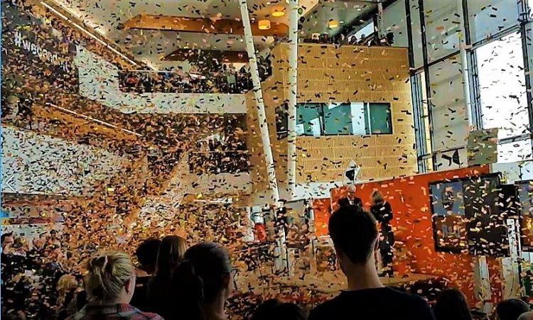 B&Q celebrate their 50th anniversary with a volley of black an orange confetti cannons